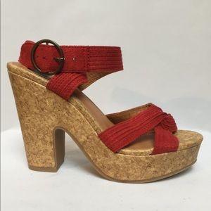 Because I wear  cork platform shoes - Red straps